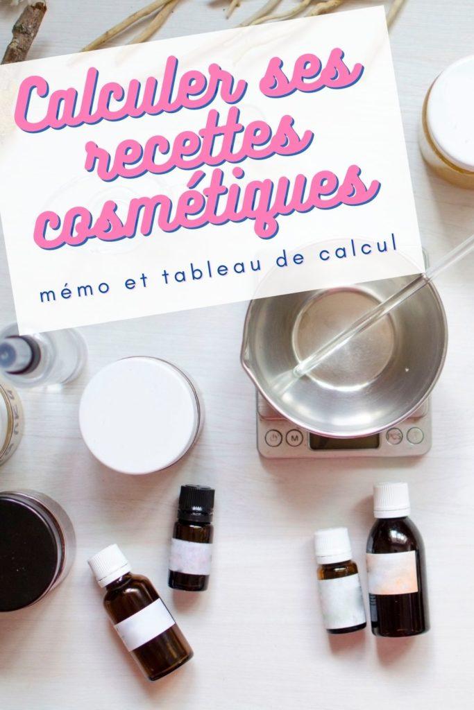 calcul recette cosmétique pourcentage en grammes tableau