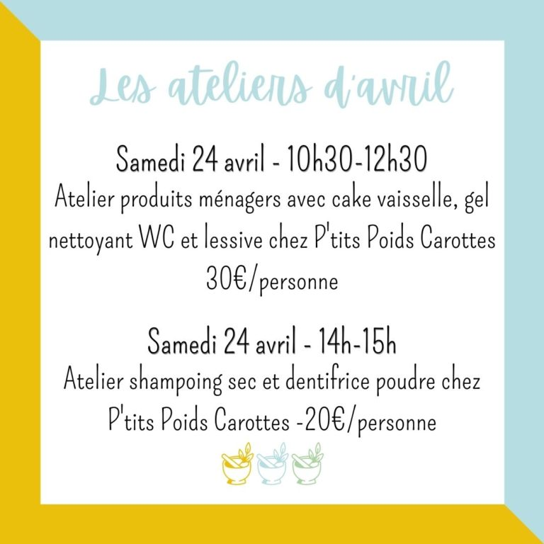 ateliers cosmetique angers avril 2021